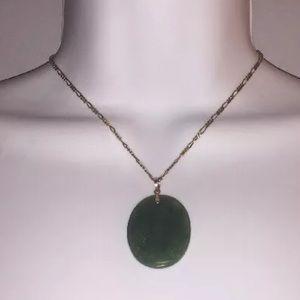 215) natural BURMA JADITE 14k gold ETCHED pendant